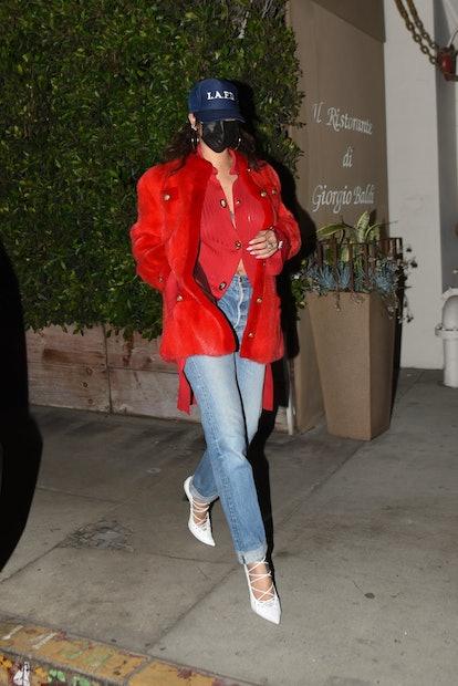 Rihanna keeps it low key as she exits Giorgio Baldi after enjoying dinner.