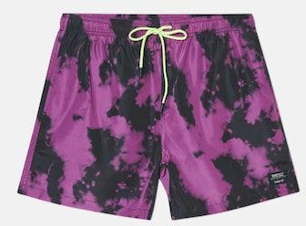 Zack Pink Glo Tie-Dye Swim Trunk
