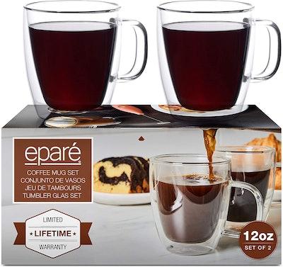 Eparé Glass Coffee Mugs (Set of 2)