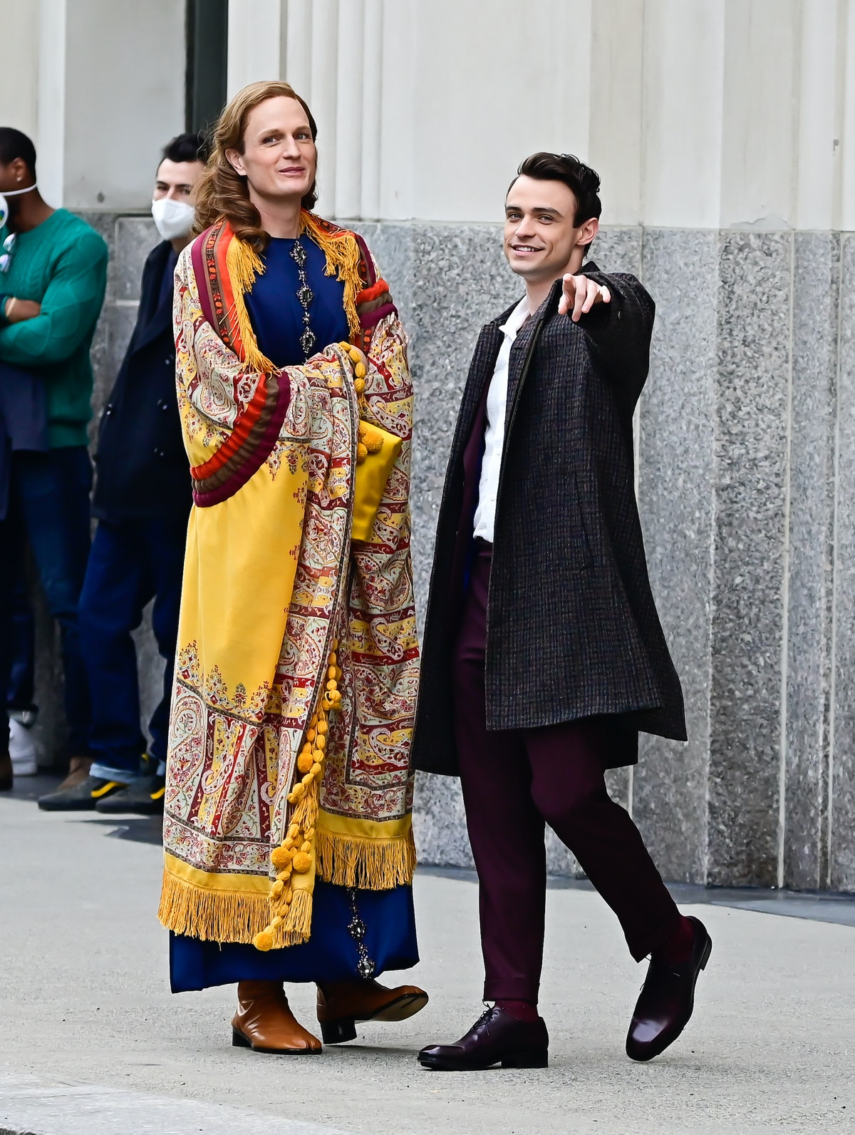 Todd Almond and Thomas Doherty on the set of Gossip Girl