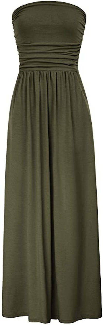GRACE KARIN Strapless Ruched Maxi Dress