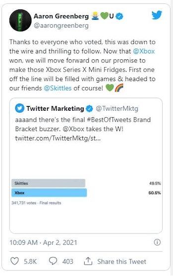 Xbox Mini Fridge Twitter poll