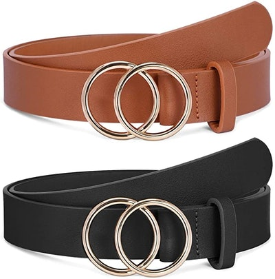 SANSTHS Faux Leather Double O-Ring Buckle Belts (2-Pack)