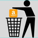 Graphic of person throwing Amazon logo into garbage can.