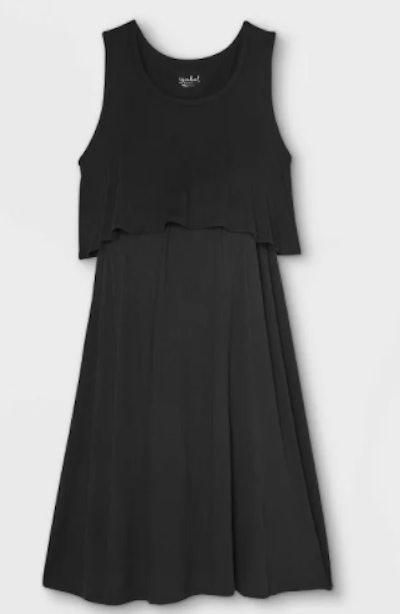 Sleeveless Double Layer Nursing Maternity Dress
