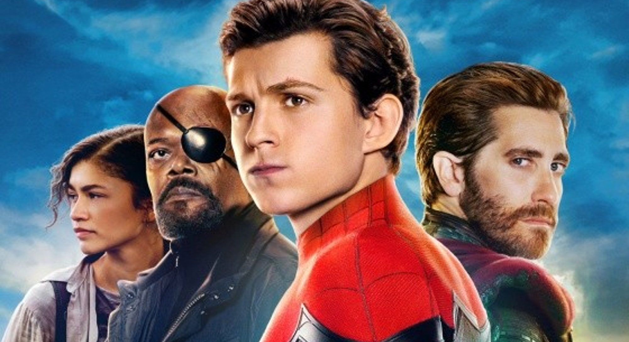 spider-man far from home cast lineup poster