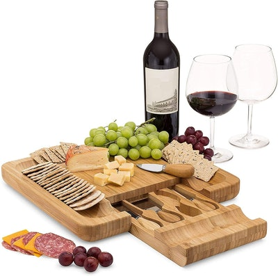 Dynamic Gear Bamboo Cheese Board Set With Cutlery