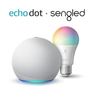 Amazon Echo Dot (4th Gen) with Sengled Bluetooth Color Bulb