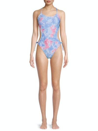 Tie Dye Cutout One-Piece Swimsuit