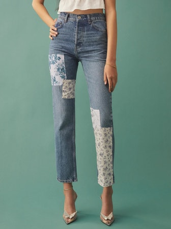 Cynthia Linen Patch High Rise Straight Jeans