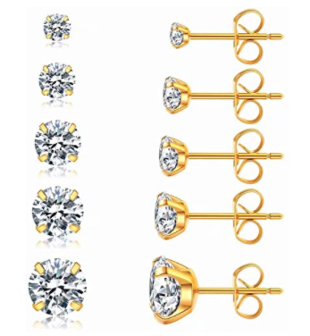 Wssxc Stainless Steel & Cubic Zirconia Stud Earrings (5 Pairs)