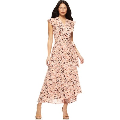 Women's Short Sleeve Wrap Front Maxi Dress