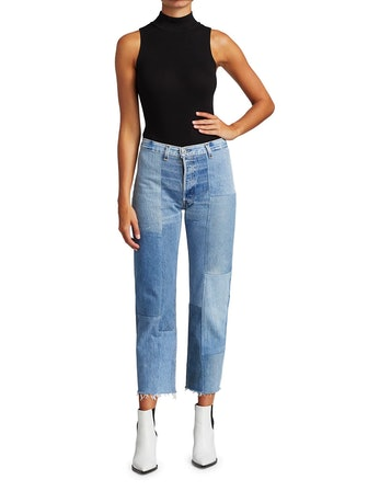 70s High-Rise Patched Straight Jeans