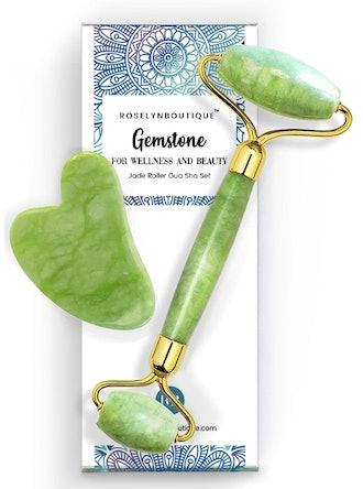 RoselynBoutique Jade Roller & Guasha Tool for Face Set