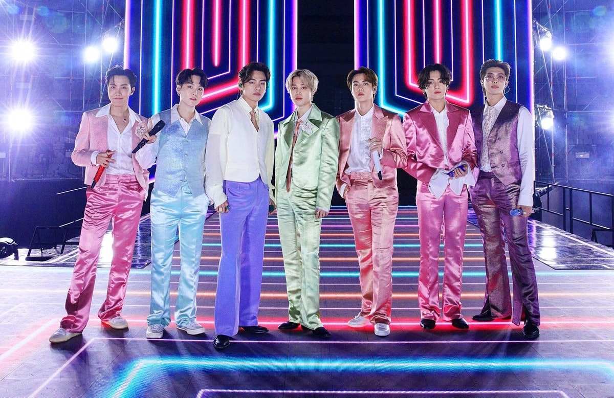 SOUTH KOREA - NOVEMBER 22: (EDITORIAL USE ONLY; NO BOOK COVERS.) In this image released on November 22, J-Hope, Suga, V, Jimin, Jin, Jungkook, RM of BTS perform onstage for the 2020 American Music Awards on November 22, 2020 in South Korea. (Photo by Big Hit Entertainment/AMA2020/Getty Images via Getty Images)