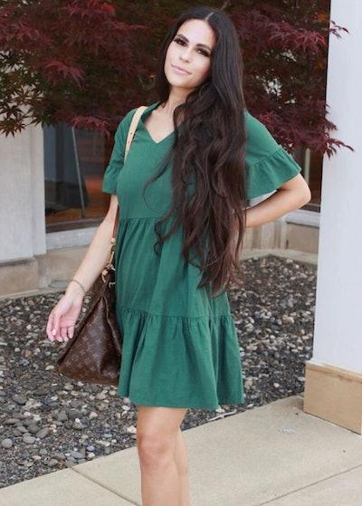 Bell Sleeve Pocket Nursing Dress in Green