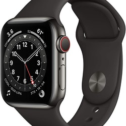 An Apple Watch Series 6 in graphite, one of many Apple Amazon Prime Day deals.