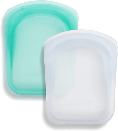 2-Pack Stasher Platinum Silicone Food Grade Reusable Storage Bags, Clear + Aqua
