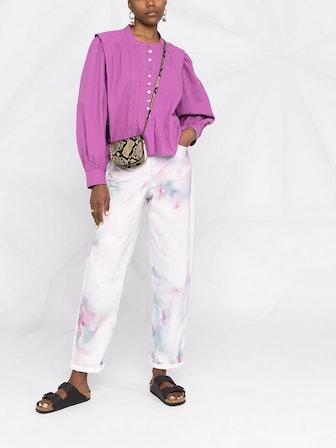 Tie-Dye Print Straight Jeans