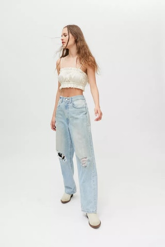 Loose Baggy High-Waisted Jean – Distressed Light Wash