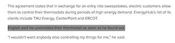 KHOU news article screenshot about Google Nest remote temperature adjustments.
