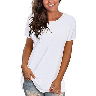 NSQTBA Short Sleeve Crewneck Loose Fit Workout T Shirt