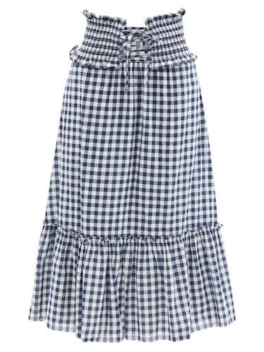 Gina Shirred Gingham Cotton-Poplin Skirt