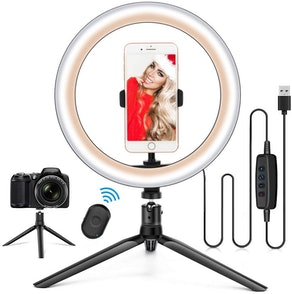 HQOON Ring Light with Stand & Phone Holder