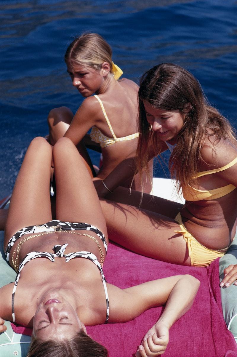 Women tanning on the beach