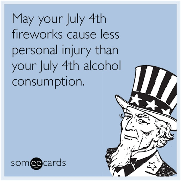 Uncle Sam talking about July 4th alcohol consumption