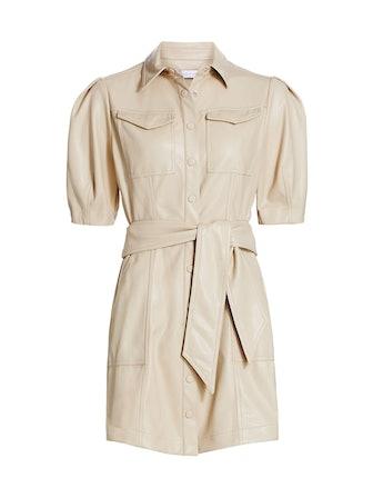 Novah Vegan Leather Short Sleeve Mini Dress