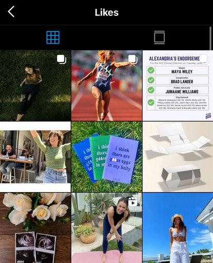 A screenshot of Instagram's Likes page, where you can find the 300 most recent posts you've liked.