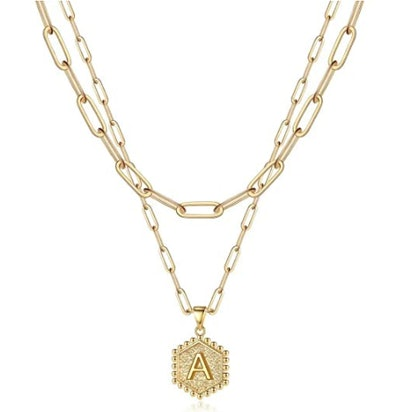 Dainty Layered 14k Gold Necklace with Initial