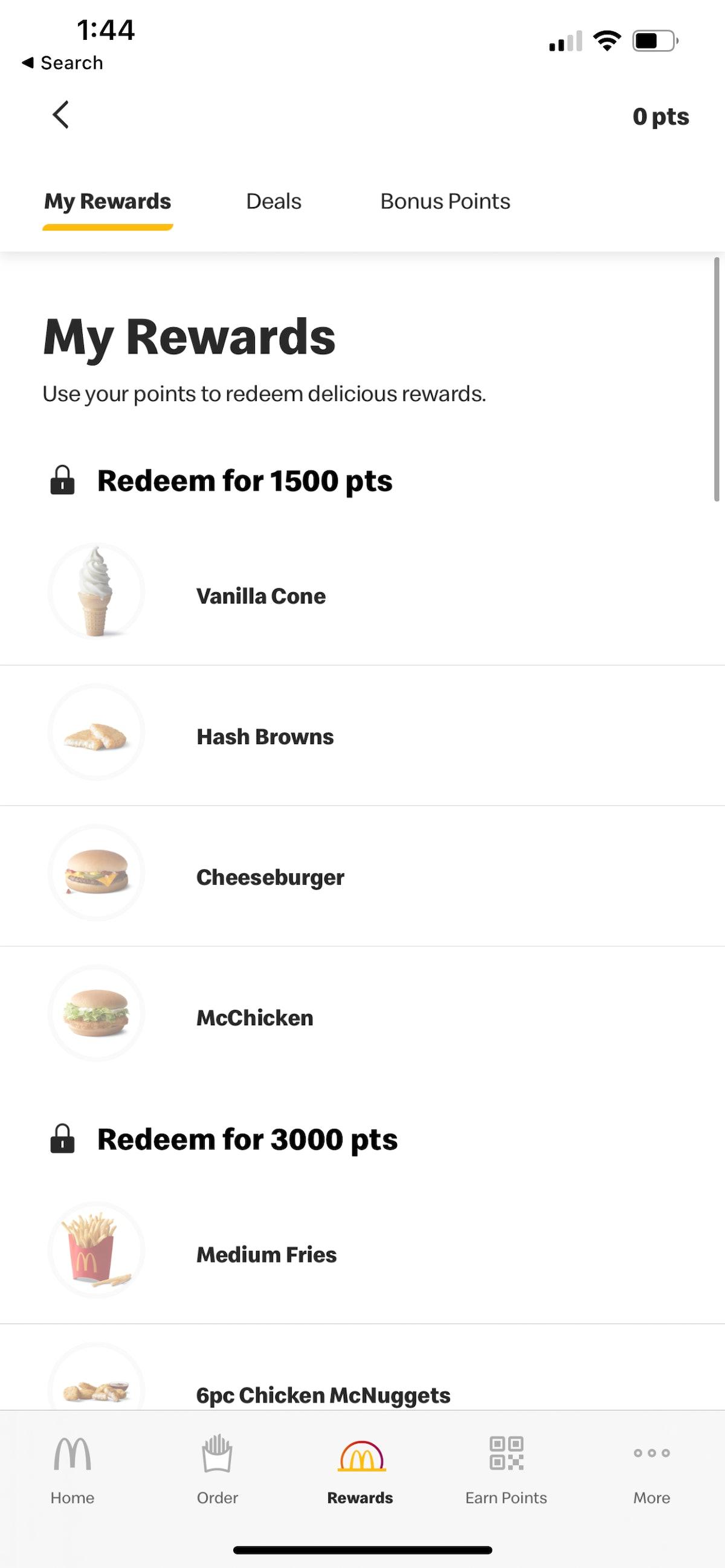 MyMcDonald's Rewards program lets you earn points on the app.