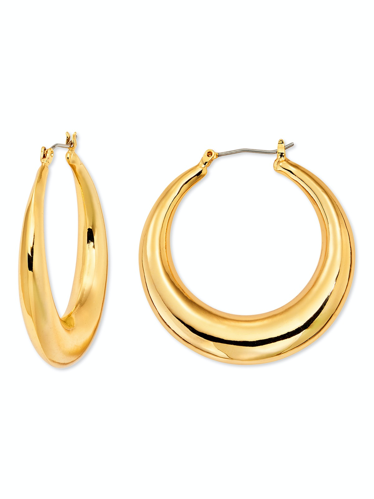 Yellow Gold-Plated Hoop Earrings