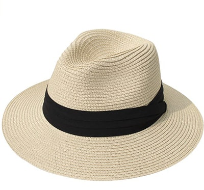 Lanzom Wide-Brim Straw Fedora Sun Hat With UPF50+