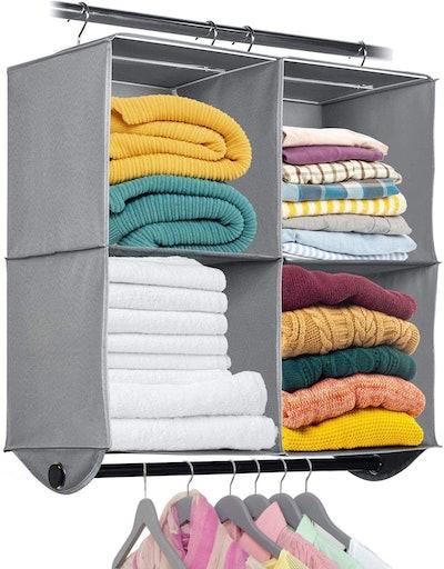 HOLDN' Storage Hanging Closet Organizer with Garment Rod