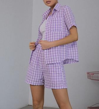 Gingham Print Patch Pocket Blouse & Shorts Set