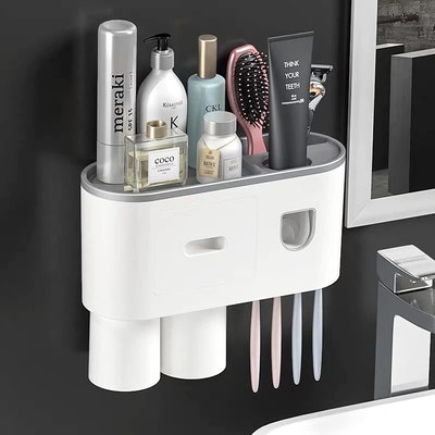 YEIRVE Automatic Toothpaste Dispenser with Toothbrush Holder