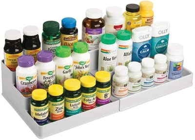 mDesign Expandable Plastic Vitamin Organizer