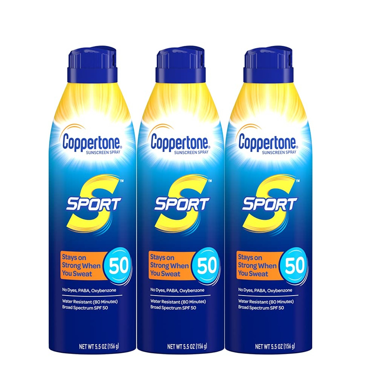 Coppertone Sport Continuous Sunscreen Spray Broad Spectrum SPF 50 Multipack (5.5 Ounce Bottle, Pack ...