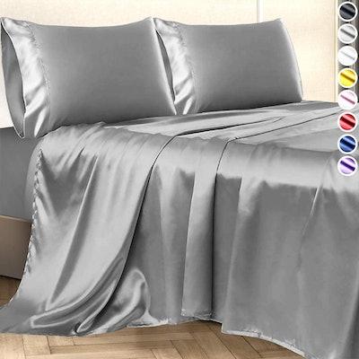 Decolure Satin Bed Sheet Set (Queen)