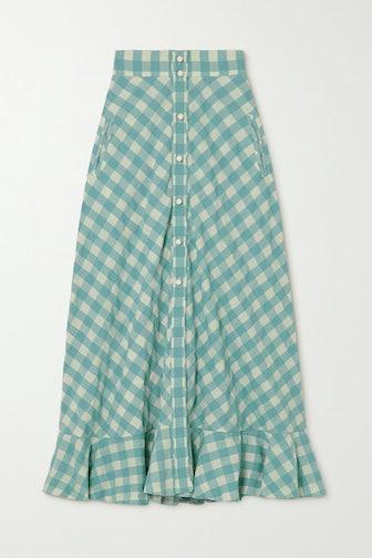 Olivia Ruffled Gingham Cotton Midi Skirt