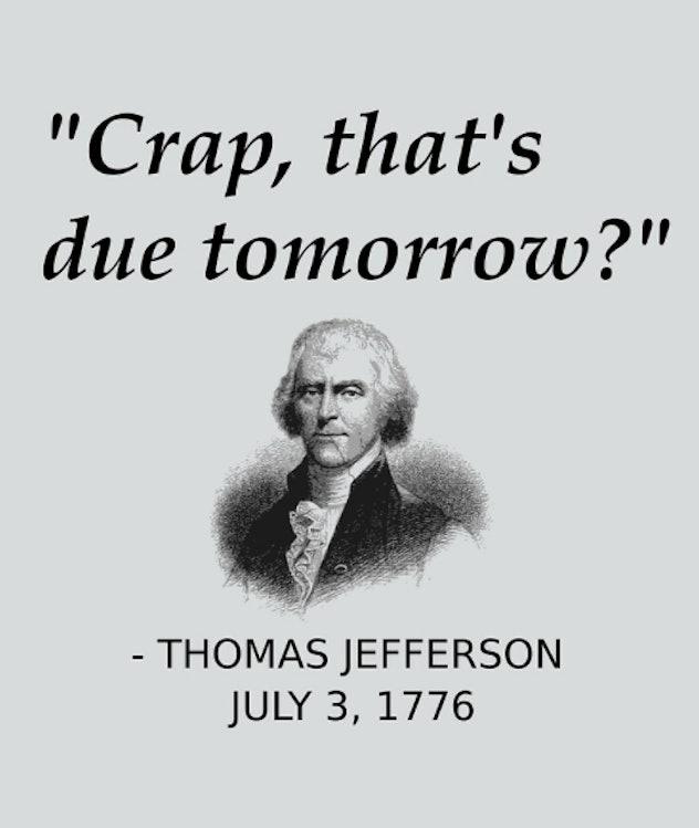 Thomas Jefferson procrasting
