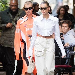 Hailey Bieber carrying a JW Pei bag while in Paris.