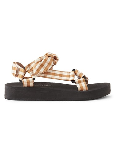 Maisie Gingham Linen & Cotton Sport Sandals