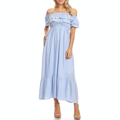 Anna-Kaci Ruffle Short Sleeve Long Dress
