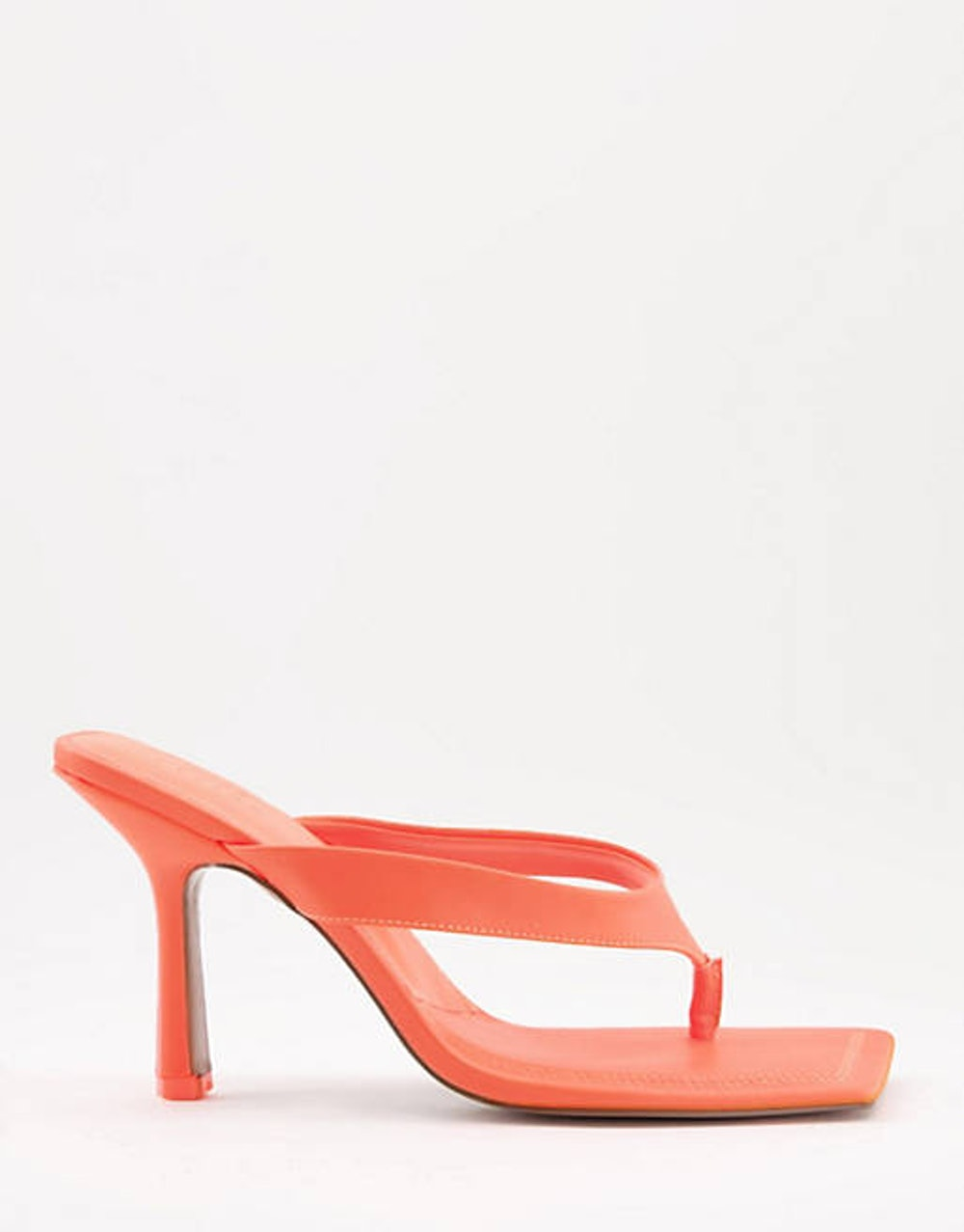 ASOS DESIGN Nissa toe thong heeled sandals in neon orange