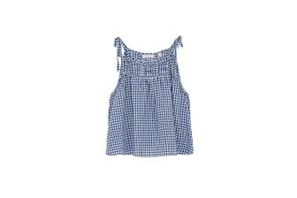 Fleurette Top in Blue Gingham