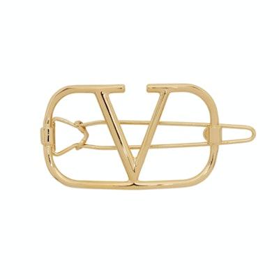 Valentino Garavani Gold Valentino Garavani VLogo Hair Clip